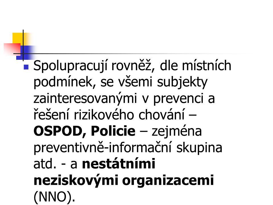 Spolupracují rovněž, dle místních podmínek, se všemi subjekty zainteresovanými v prevenci a řešení rizikového chování – OSPOD, Policie – zejména preve