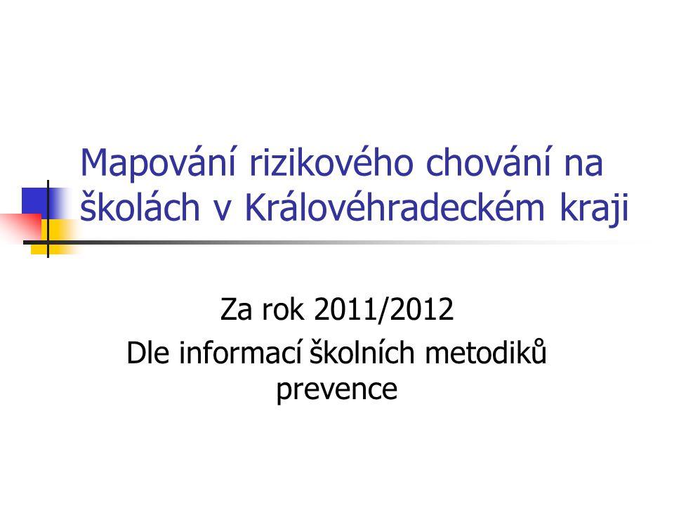 Mapování rizikového chování na školách v Královéhradeckém kraji Za rok 2011/2012 Dle informací školních metodiků prevence