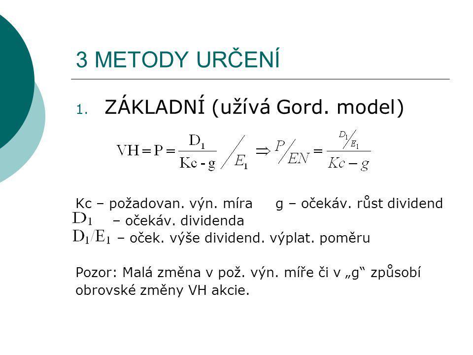 1. ZÁKLADNÍ (užívá Gord. model) Kc – požadovan. výn. míra g – očekáv. růst dividend – očekáv. dividenda – oček. výše dividend. výplat. poměru Pozor: M