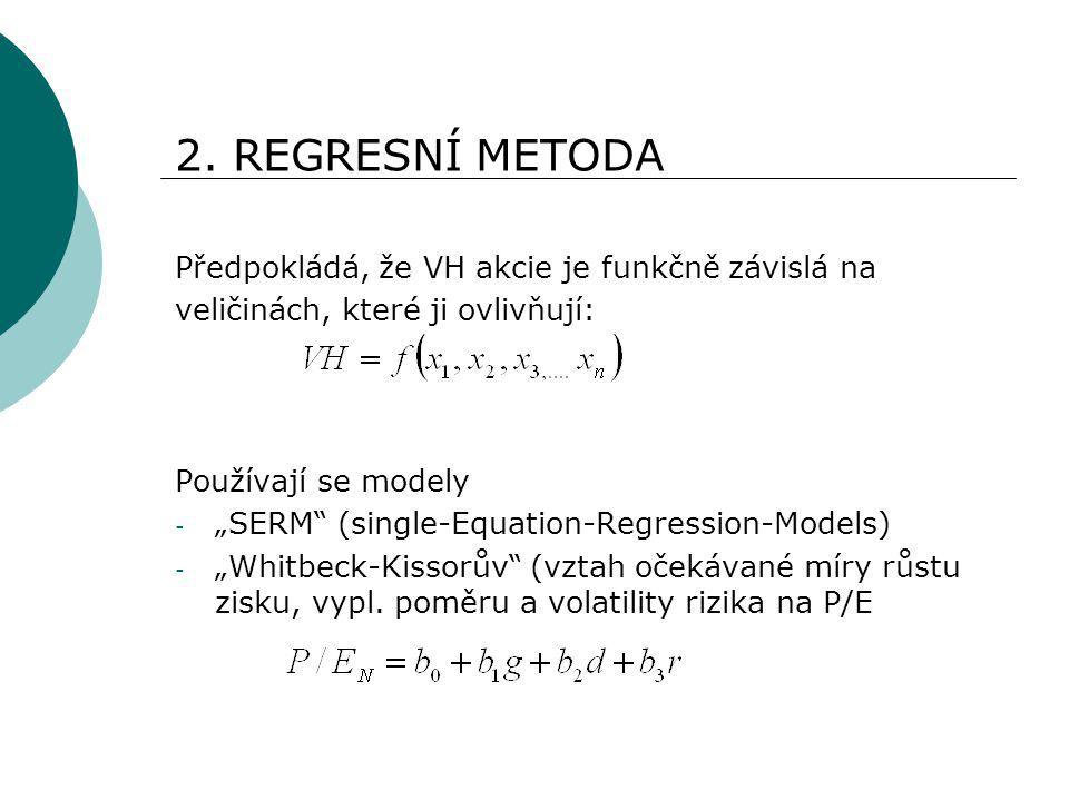 """2. REGRESNÍ METODA Předpokládá, že VH akcie je funkčně závislá na veličinách, které ji ovlivňují: Používají se modely - """"SERM"""" (single-Equation-Regres"""