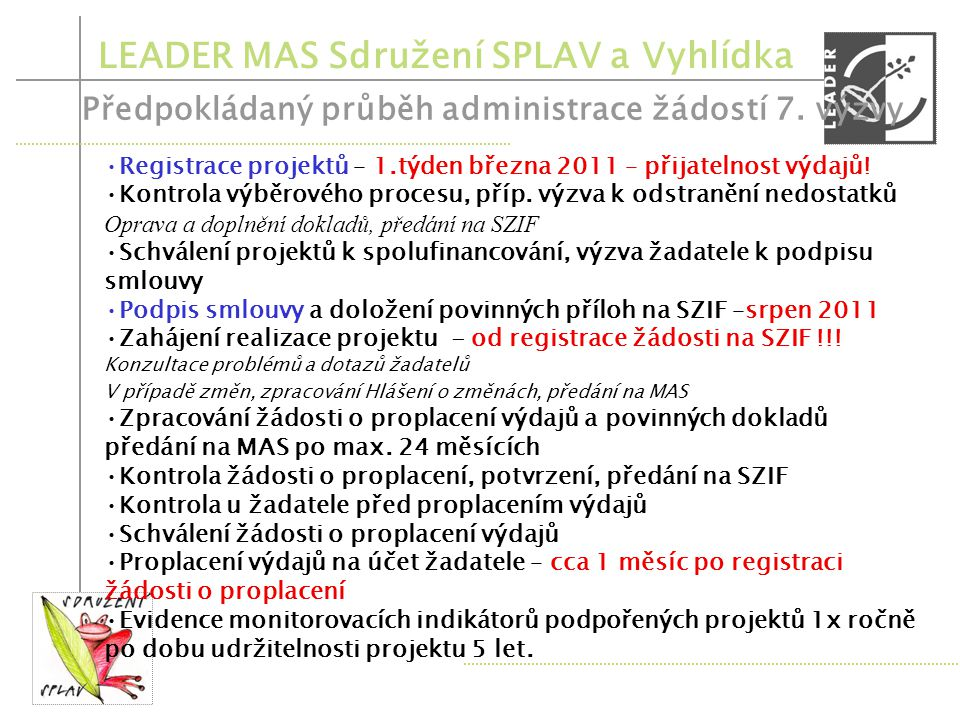LEADER MAS Sdružení SPLAV a Vyhlídka Příprava výzvy, schválení textu Program. výborem, Odsouhlasení připravené výzvy SZIF – listopad 2010 Zveřejnění v