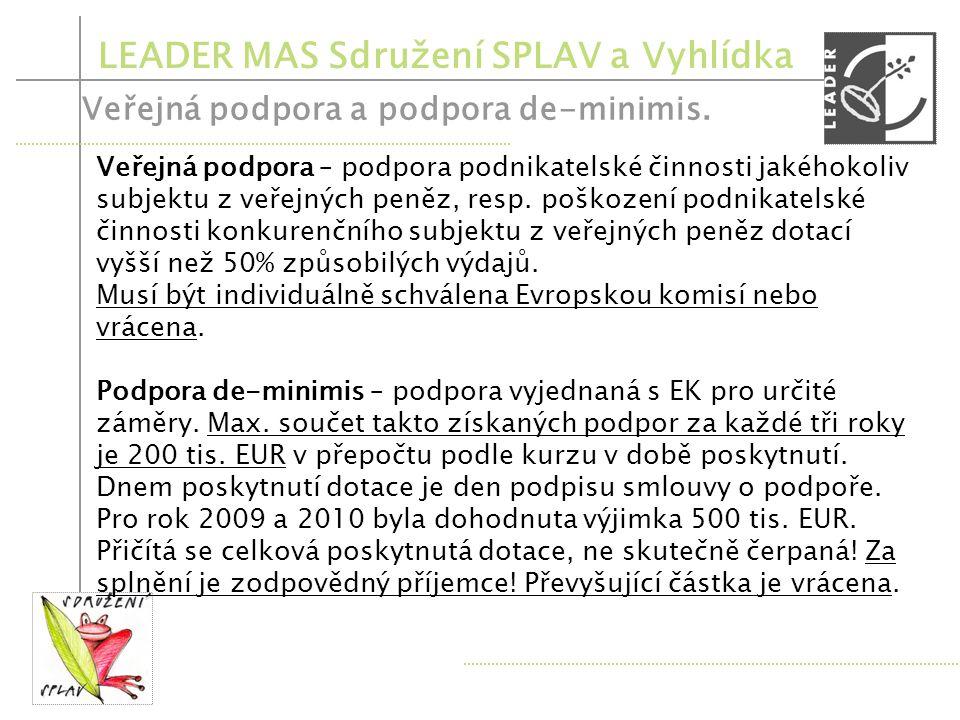 LEADER MAS Sdružení SPLAV a Vyhlídka Veřejná podpora a podpora de-minimis. Fiche 1 Modernizace zemědělských - není veřejná podpora ani de-minimis, pro