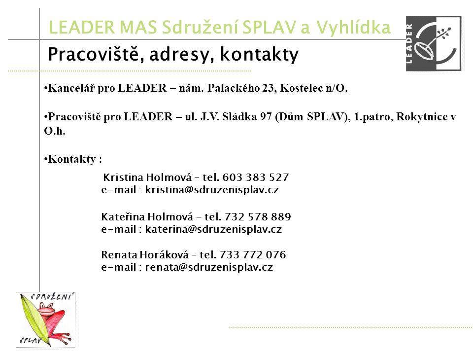 LEADER MAS Sdružení SPLAV a Vyhlídka 8. výzva Termíny 8. výzvy Příjem žádostí : květen 2011 Hodnocení žádostí : červen 2011 Kontrola SZIF : červenec 2