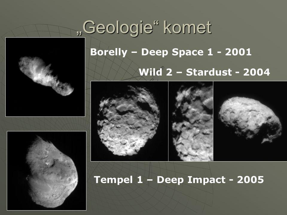 """""""Geologie"""" komet Borelly – Deep Space 1 - 2001 Wild 2 – Stardust - 2004 Tempel 1 – Deep Impact - 2005"""