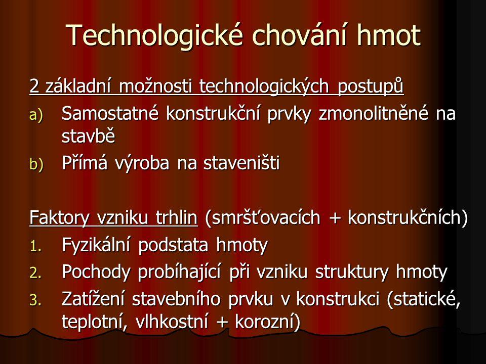 Technologické chování hmot 2 základní možnosti technologických postupů a) Samostatné konstrukční prvky zmonolitněné na stavbě b) Přímá výroba na stave