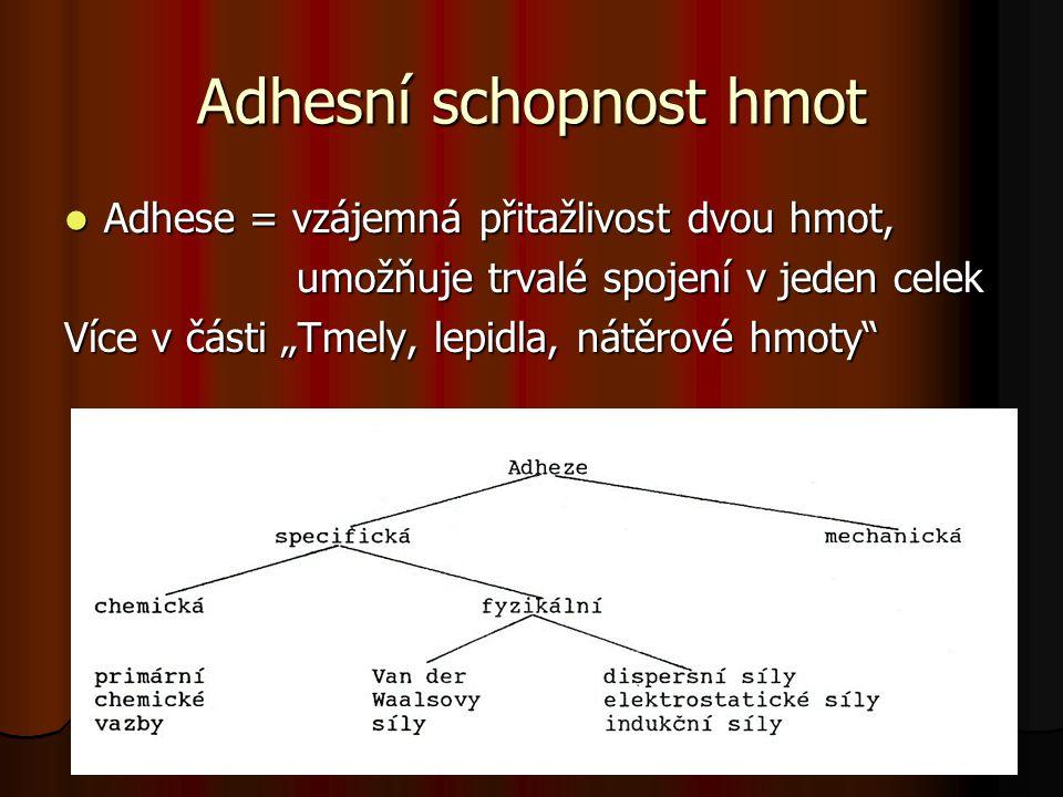 Adhesní schopnost hmot Adhese = vzájemná přitažlivost dvou hmot, Adhese = vzájemná přitažlivost dvou hmot, umožňuje trvalé spojení v jeden celek umožň