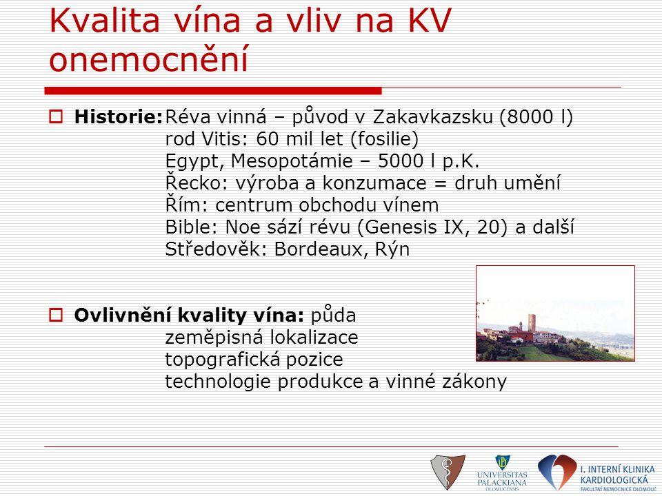 Kvalita vína a vliv na KV onemocnění  Historie:Réva vinná – původ v Zakavkazsku (8000 l) rod Vitis: 60 mil let (fosilie) Egypt, Mesopotámie – 5000 l