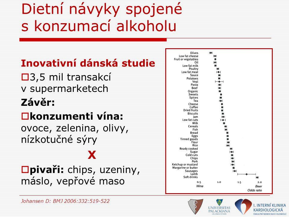 Dietní návyky spojené s konzumací alkoholu Inovativní dánská studie  3,5 mil transakcí v supermarketech Závěr:  konzumenti vína: ovoce, zelenina, ol