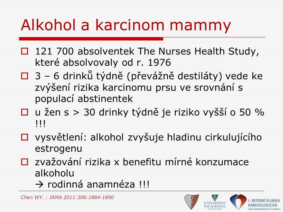 Alkohol a karcinom mammy  121 700 absolventek The Nurses Health Study, které absolvovaly od r. 1976  3 – 6 drinků týdně (převážně destiláty) vede ke