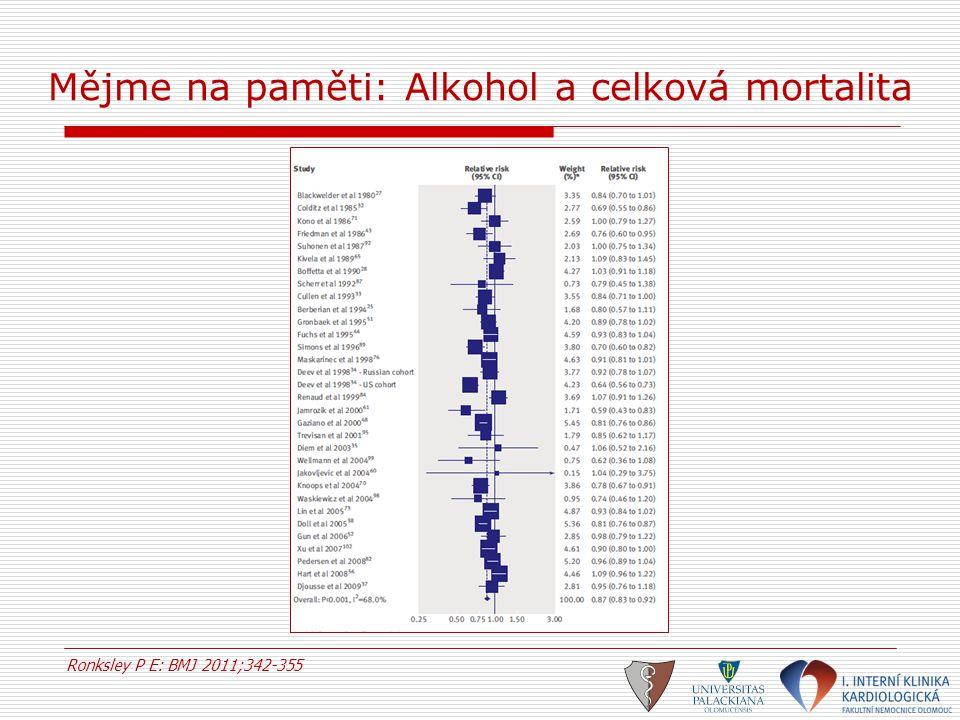Mějme na paměti: Alkohol a celková mortalita Ronksley P E: BMJ 2011;342-355