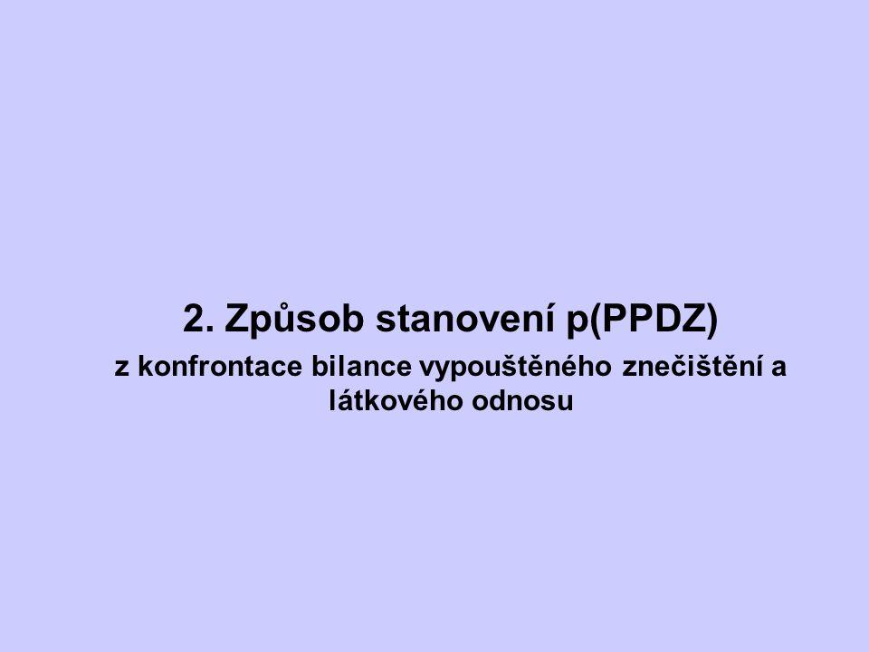 2. Způsob stanovení p(PPDZ) z konfrontace bilance vypouštěného znečištění a látkového odnosu