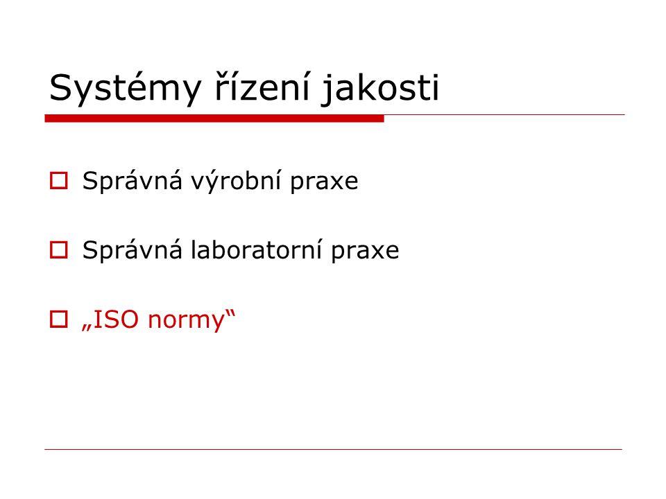 """Systémy řízení jakosti  Správná výrobní praxe  Správná laboratorní praxe  """"ISO normy"""""""