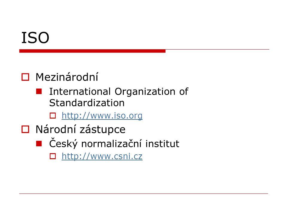 ISO  Mezinárodní International Organization of Standardization  http://www.iso.org http://www.iso.org  Národní zástupce Český normalizační institut  http://www.csni.cz http://www.csni.cz