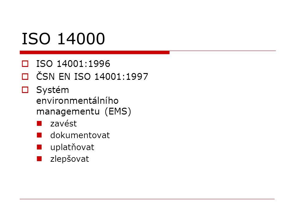 ISO 14000  ISO 14001:1996  ČSN EN ISO 14001:1997  Systém environmentálního managementu (EMS) zavést dokumentovat uplatňovat zlepšovat