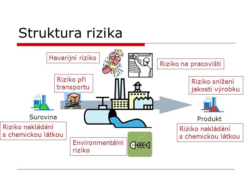 Struktura rizika Surovina Produkt Havarijní riziko Riziko na pracovišti Riziko nakládání s chemickou látkou Environmentální riziko Riziko nakládání s chemickou látkou Riziko snížení jakosti výrobku Riziko při transportu