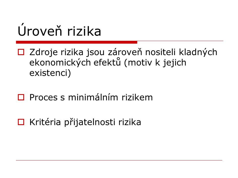 Úroveň rizika  Zdroje rizika jsou zároveň nositeli kladných ekonomických efektů (motiv k jejich existenci)  Proces s minimálním rizikem  Kritéria přijatelnosti rizika