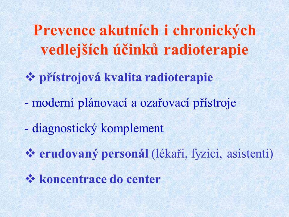 Prevence akutních i chronických vedlejších účinků radioterapie  přístrojová kvalita radioterapie - moderní plánovací a ozařovací přístroje - diagnostický komplement  erudovaný personál (lékaři, fyzici, asistenti)  koncentrace do center