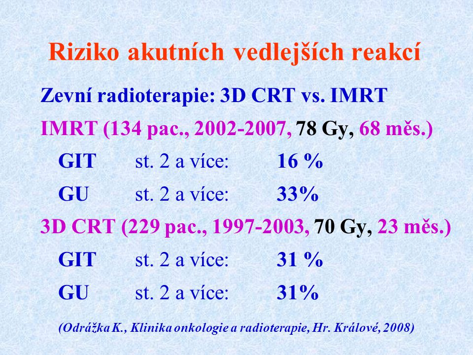 Riziko akutních vedlejších reakcí Zevní radioterapie: 3D CRT vs. IMRT IMRT (134 pac., 2002-2007, 78 Gy, 68 měs.) GIT st. 2 a více: 16 % GU st. 2 a víc