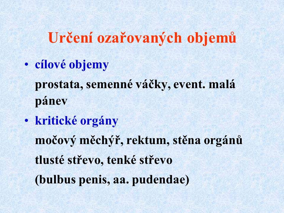 Určení ozařovaných objemů cílové objemy prostata, semenné váčky, event.