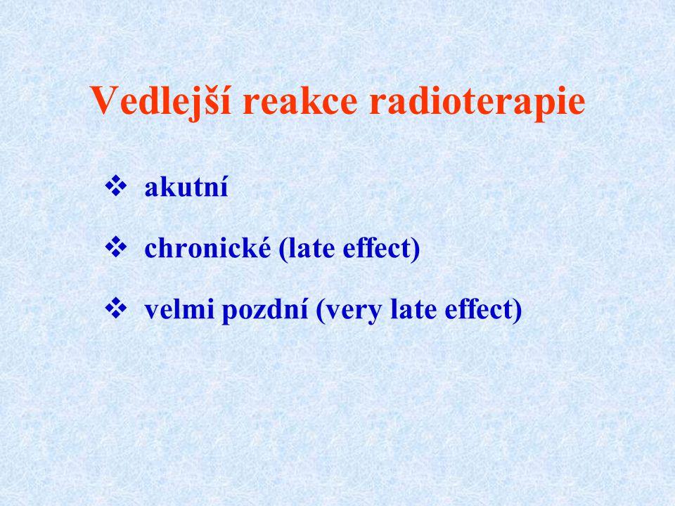 Vedlejší reakce radioterapie  akutní  chronické (late effect)  velmi pozdní (very late effect)