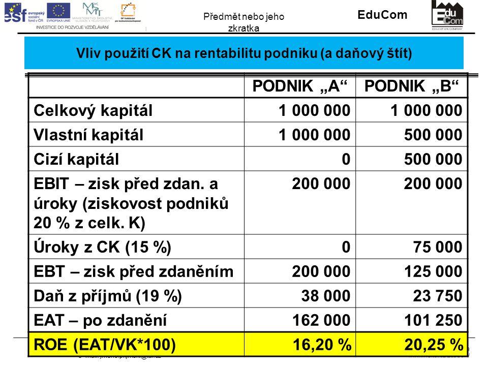 """INVESTICE DO ROZVOJE VZDĚLÁVÁNÍ EduCom Projekt Educom www.kvs.tul.cz/EduCom/ Tento projekt je financován evropským sociálním fondem a státním rozpočtem ČR Předmět nebo jeho zkratka Jméno příjmení lektora Tel.: +420 485 35X XXX e–mail: jmeno.prijmeni@tul.cz Vliv použití CK na rentabilitu podniku (a daňový štít) PODNIK """"A PODNIK """"B Celkový kapitál1 000 000 Vlastní kapitál1 000 000500 000 Cizí kapitál0500 000 EBIT – zisk před zdan."""