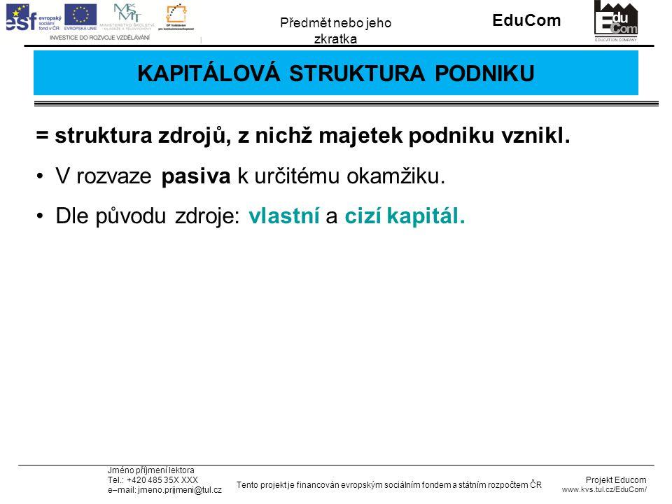 INVESTICE DO ROZVOJE VZDĚLÁVÁNÍ EduCom Projekt Educom www.kvs.tul.cz/EduCom/ Tento projekt je financován evropským sociálním fondem a státním rozpočtem ČR Předmět nebo jeho zkratka Jméno příjmení lektora Tel.: +420 485 35X XXX e–mail: jmeno.prijmeni@tul.cz Průměrné náklady na kapitál WACC – průměrné náklady na celkový kapitál (%), k i – náklady na cizí kapitál před zdaněním zisku (%), T – míra zdanění zisku (desetinné číslo), k e – náklady na vlastní kapitál po zdanění zisku (%), B – tržní hodnota cizího kapitálu v Kč, V = B + S – celkový kapitál firmy v Kč, S – tržní hodnota vlastního kapitálu v Kč.