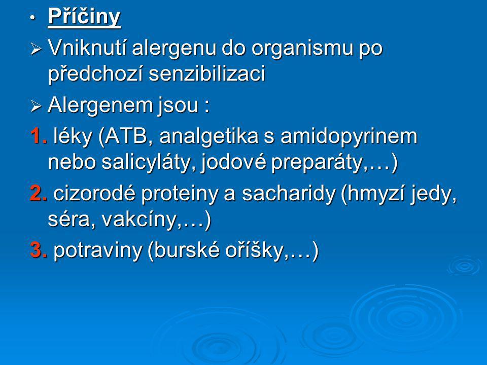 Příčiny Příčiny  Vniknutí alergenu do organismu po předchozí senzibilizaci  Alergenem jsou : 1. léky (ATB, analgetika s amidopyrinem nebo salicyláty