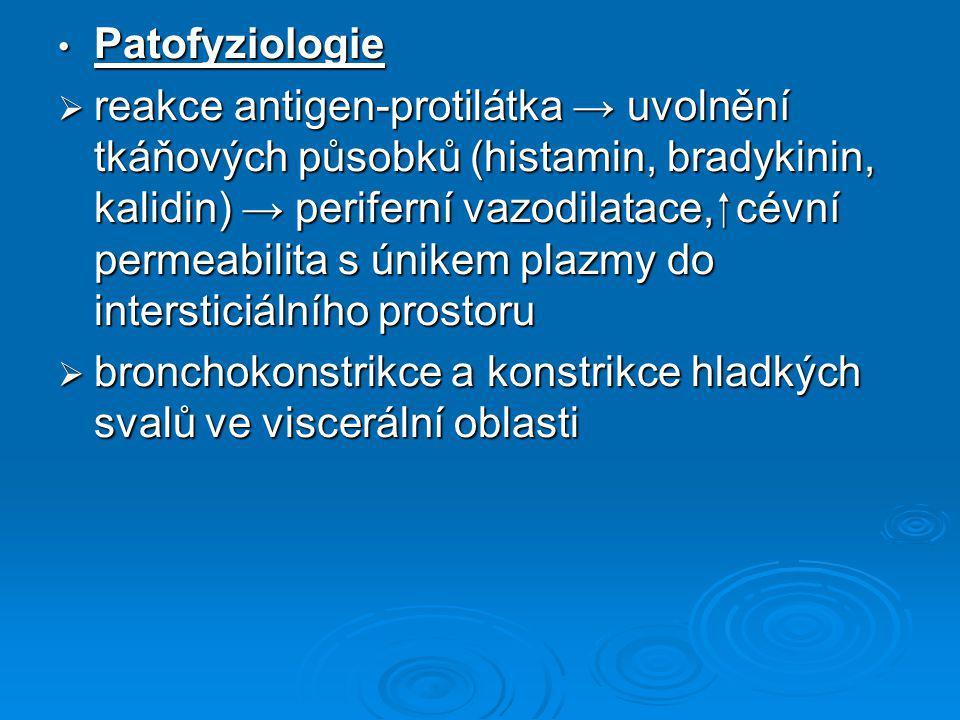Patofyziologie Patofyziologie  reakce antigen-protilátka → uvolnění tkáňových působků (histamin, bradykinin, kalidin) → periferní vazodilatace,  cév