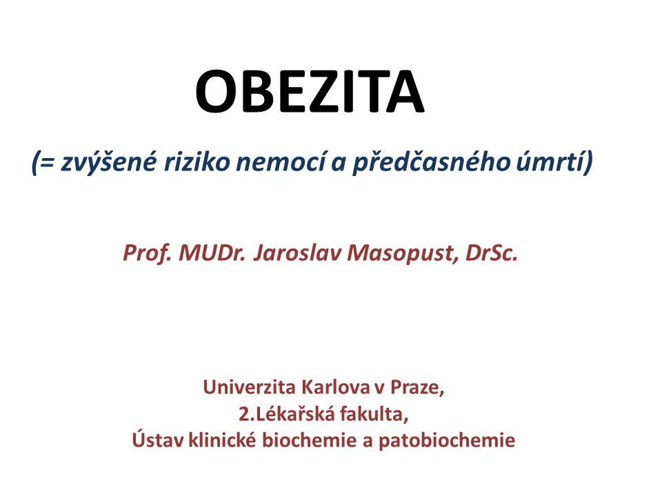 OBEZITA (= zvýšené riziko nemocí a předčasného úmrtí) Prof.