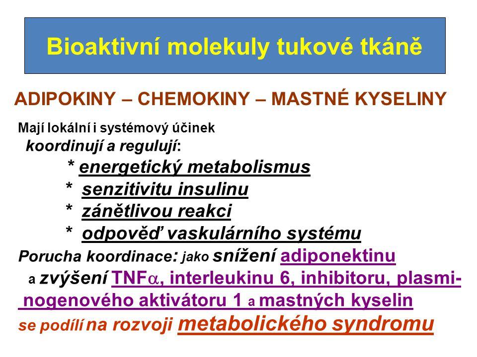 Bioaktivní molekuly tukové tkáně ADIPOKINY – CHEMOKINY – MASTNÉ KYSELINY Mají lokální i systémový účinek koordinují a regulují: * energetický metabolismus * senzitivitu insulinu * zánětlivou reakci * odpověď vaskulárního systému Porucha koordinace : jako snížení adiponektinu a zvýšení TNF , interleukinu 6, inhibitoru, plasmi- nogenového aktivátoru 1 a mastných kyselin se podílí na rozvoji metabolického syndromu