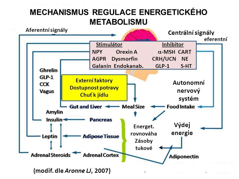 MECHANISMUS REGULACE ENERGETICKÉHO METABOLISMU Stimulátor Inhibitor NPY Orexin A  -MSH CART AGPR Dysmorfin CRH/UCN NE Galanin Endokanab.