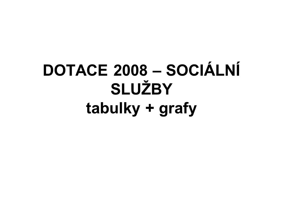 DOTACE 2008 – SOCIÁLNÍ SLUŽBY tabulky + grafy