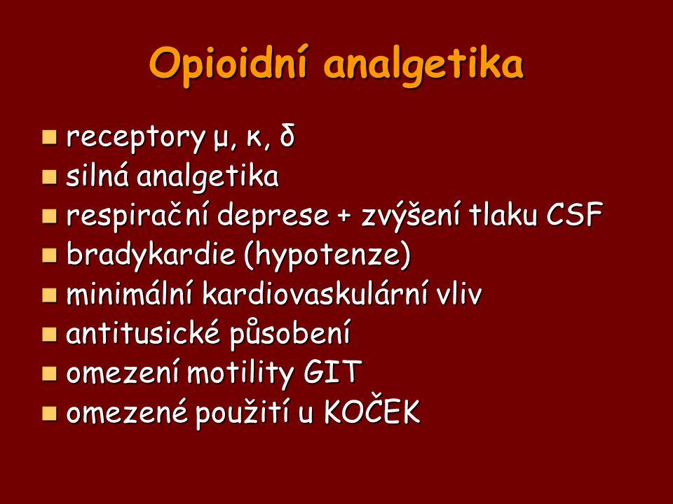 Opioidní analgetika receptory μ, κ, δ receptory μ, κ, δ silná analgetika silná analgetika respirační deprese + zvýšení tlaku CSF respirační deprese +