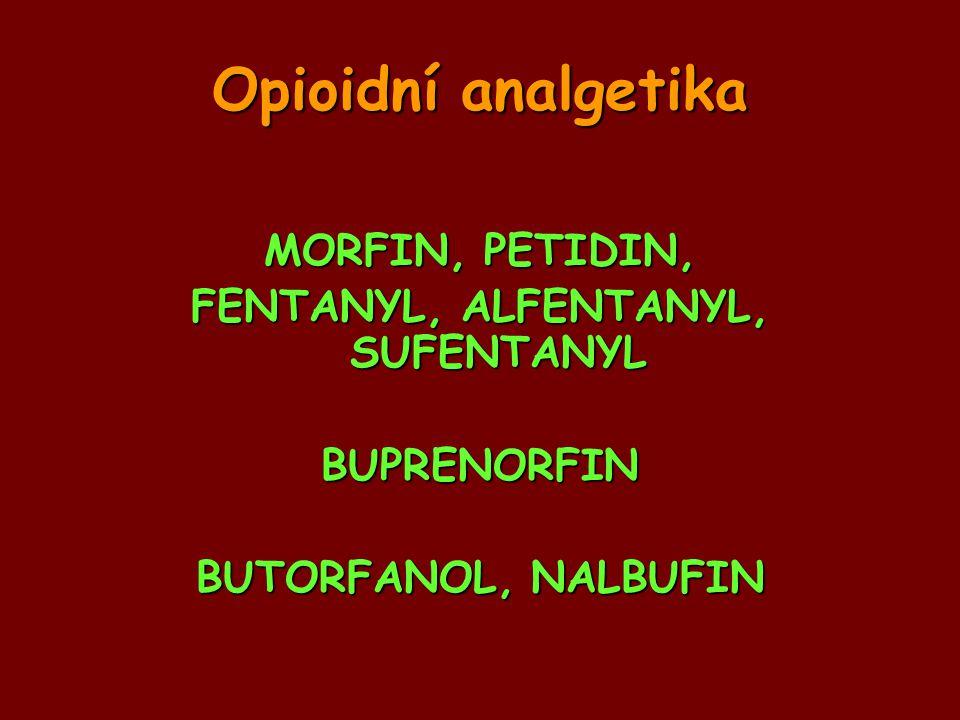 Opioidní analgetika MORFIN, PETIDIN, FENTANYL, ALFENTANYL, SUFENTANYL BUPRENORFIN BUTORFANOL, NALBUFIN