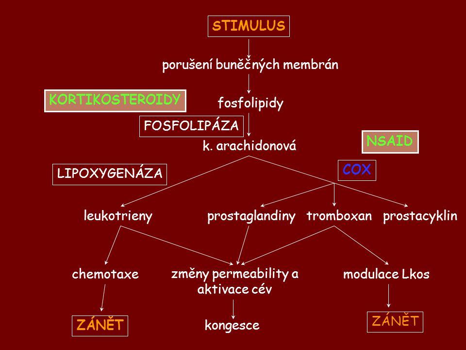 KORTIKOSTEROIDY NSAID STIMULUS porušení buněčných membrán fosfolipidy FOSFOLIPÁZA LIPOXYGENÁZA k. arachidonová leukotrieny chemotaxe ZÁNĚT změny perme