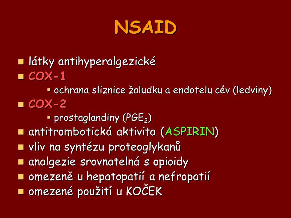 NSAID látky antihyperalgezické látky antihyperalgezické COX-1 COX-1  ochrana sliznice žaludku a endotelu cév (ledviny) COX-2 COX-2  prostaglandiny (