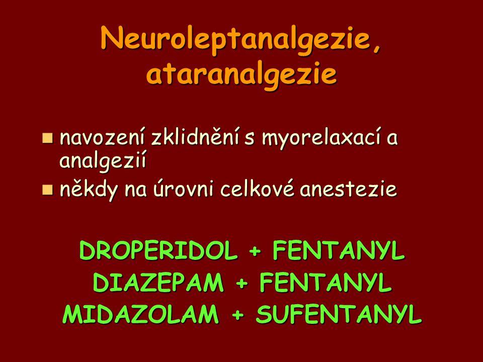Neuroleptanalgezie, ataranalgezie navození zklidnění s myorelaxací a analgezií navození zklidnění s myorelaxací a analgezií někdy na úrovni celkové an