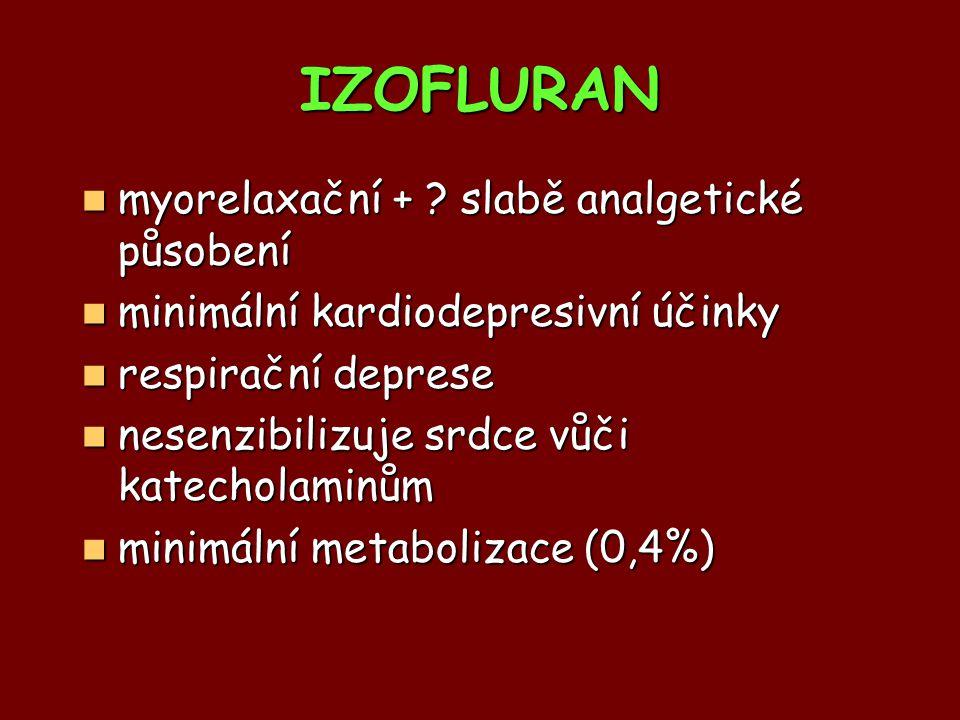 myorelaxační + ? slabě analgetické působení myorelaxační + ? slabě analgetické působení minimální kardiodepresivní účinky minimální kardiodepresivní ú