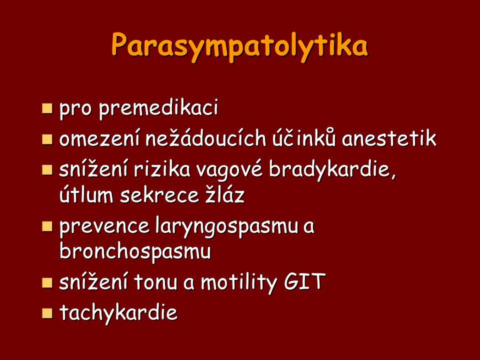 Parasympatolytika pro premedikaci pro premedikaci omezení nežádoucích účinků anestetik omezení nežádoucích účinků anestetik snížení rizika vagové brad