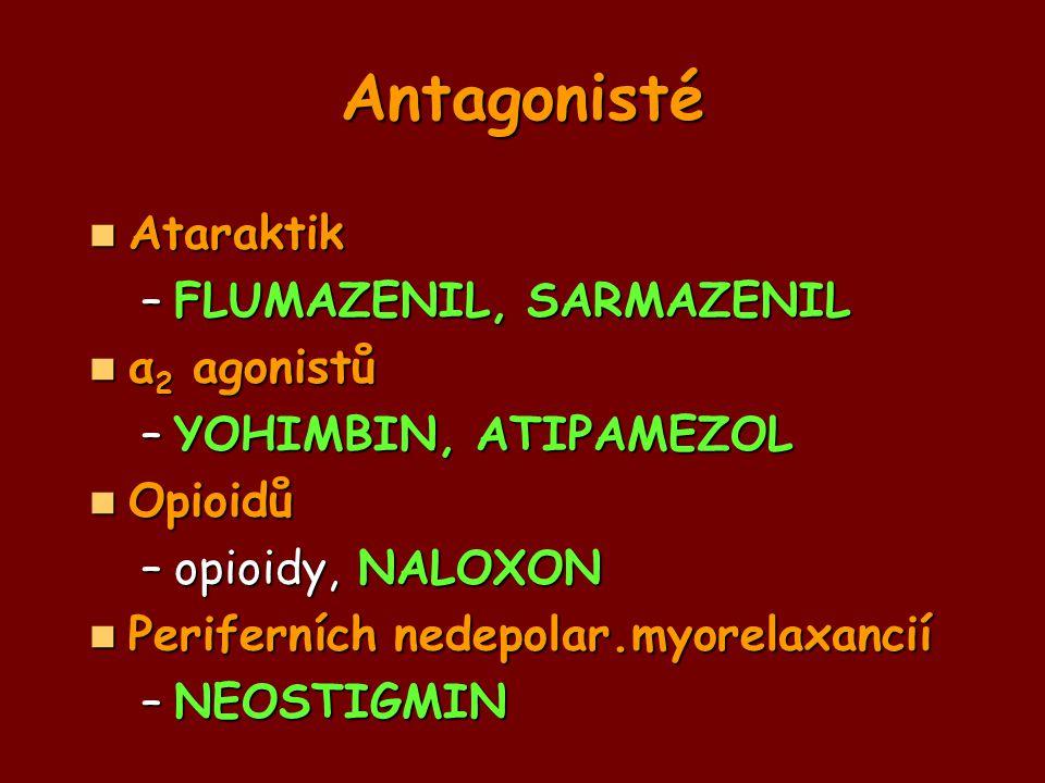 Antagonisté Ataraktik Ataraktik –FLUMAZENIL, SARMAZENIL α 2 agonistů α 2 agonistů –YOHIMBIN, ATIPAMEZOL Opioidů Opioidů –opioidy, NALOXON Periferních