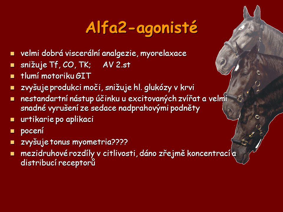 Alfa2-agonisté velmi dobrá viscerální analgezie, myorelaxace velmi dobrá viscerální analgezie, myorelaxace snižuje Tf, CO, TK; AV 2.st snižuje Tf, CO,