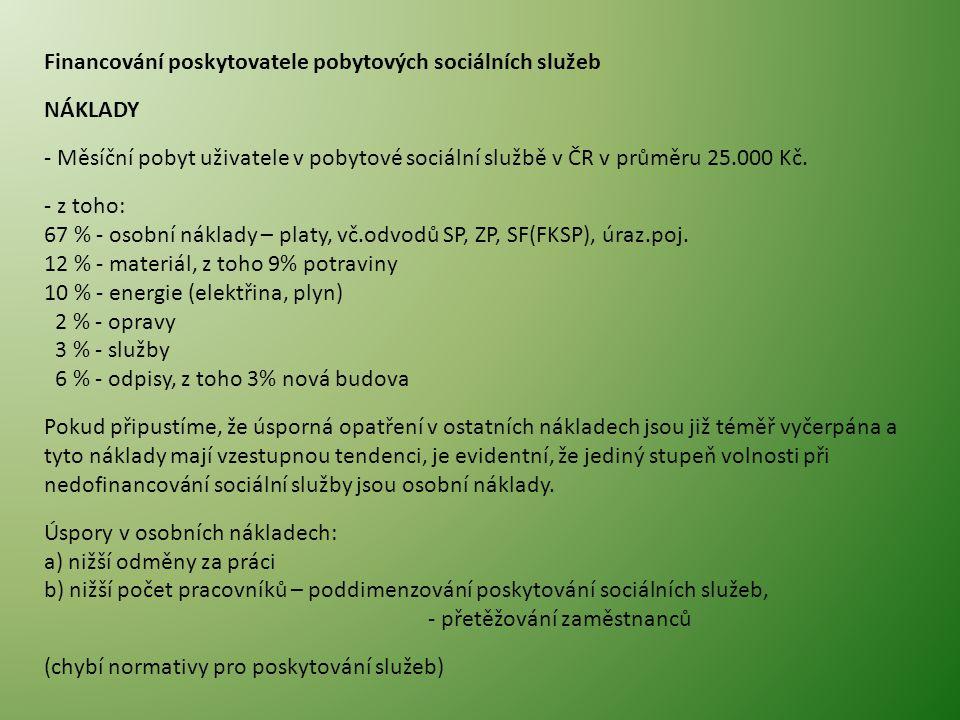 Financování poskytovatele pobytových sociálních služeb NÁKLADY - Měsíční pobyt uživatele v pobytové sociální službě v ČR v průměru 25.000 Kč.