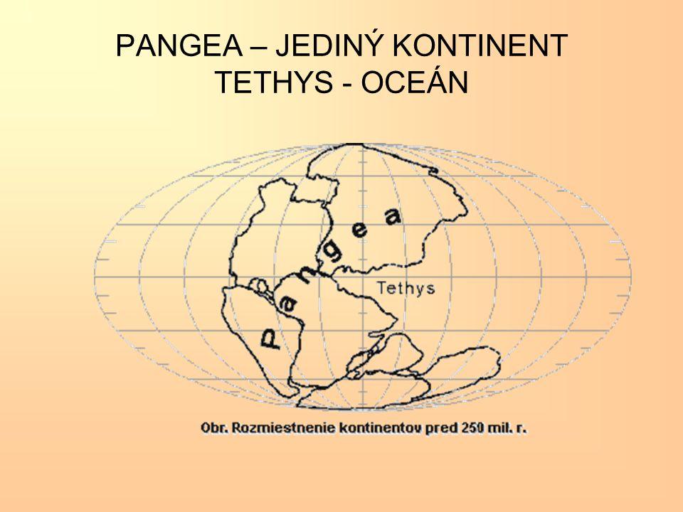 PANGEA – JEDINÝ KONTINENT TETHYS - OCEÁN