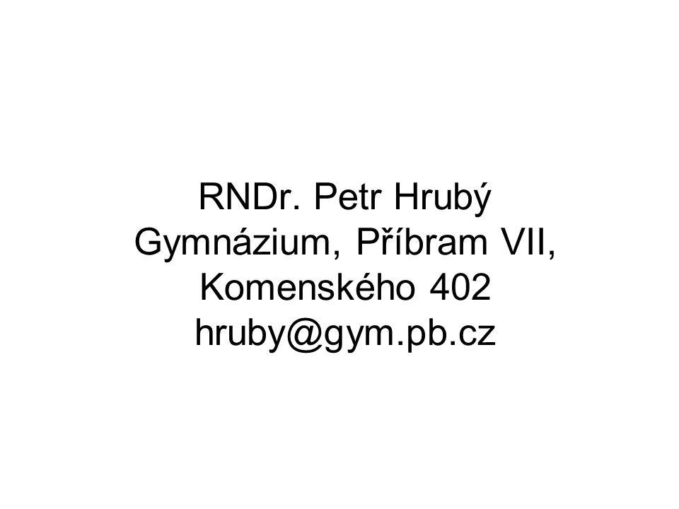 RNDr. Petr Hrubý Gymnázium, Příbram VII, Komenského 402 hruby@gym.pb.cz