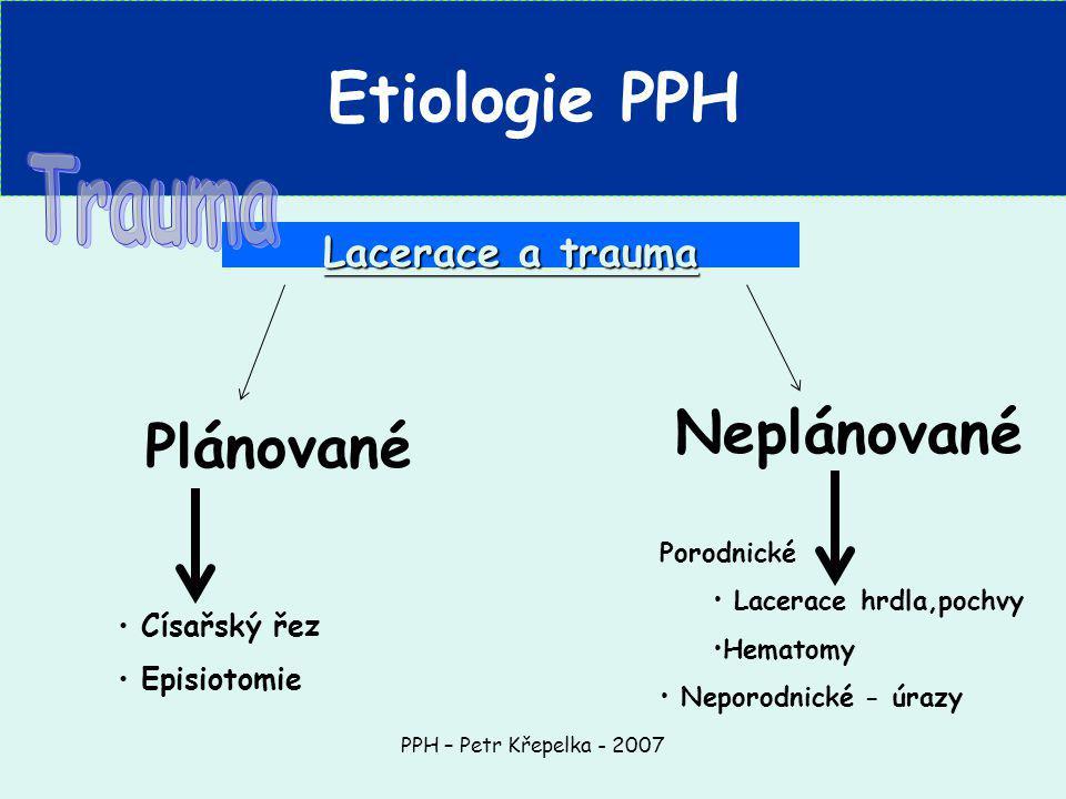 PPH – Petr Křepelka - 2007 Lacerace a trauma Plánované Císařský řez Episiotomie Neplánované Porodnické Lacerace hrdla,pochvy Hematomy Neporodnické - úrazy Etiologie PPH