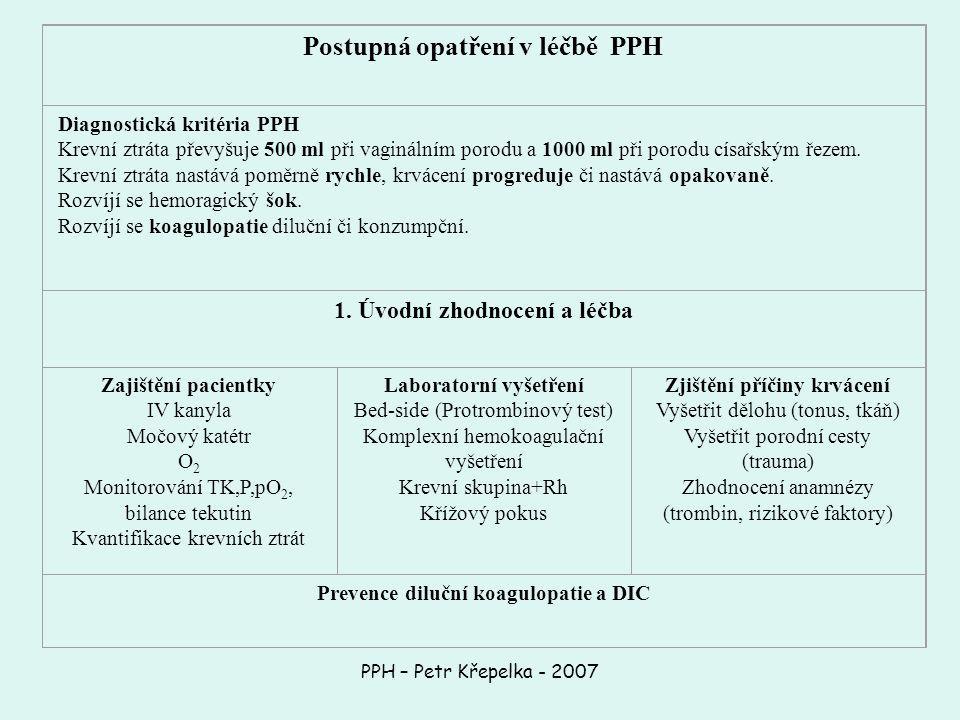 Postupná opatření v léčbě PPH Diagnostická kritéria PPH Krevní ztráta převyšuje 500 ml při vaginálním porodu a 1000 ml při porodu císařským řezem.