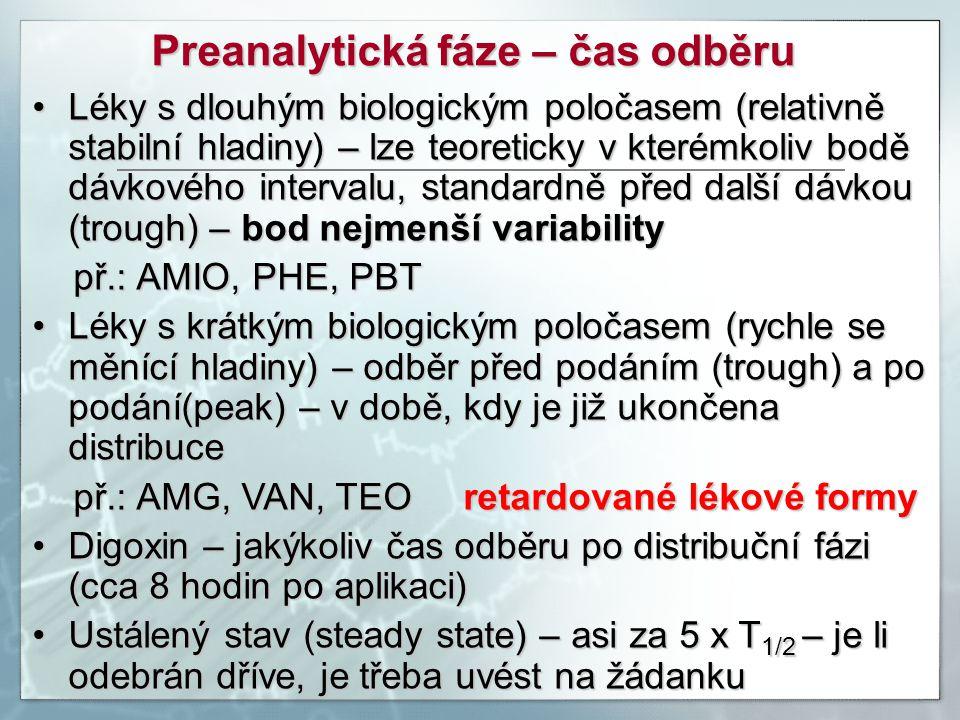 Preanalytická fáze – čas odběru Léky s dlouhým biologickým poločasem (relativně stabilní hladiny) – lze teoreticky v kterémkoliv bodě dávkového interv