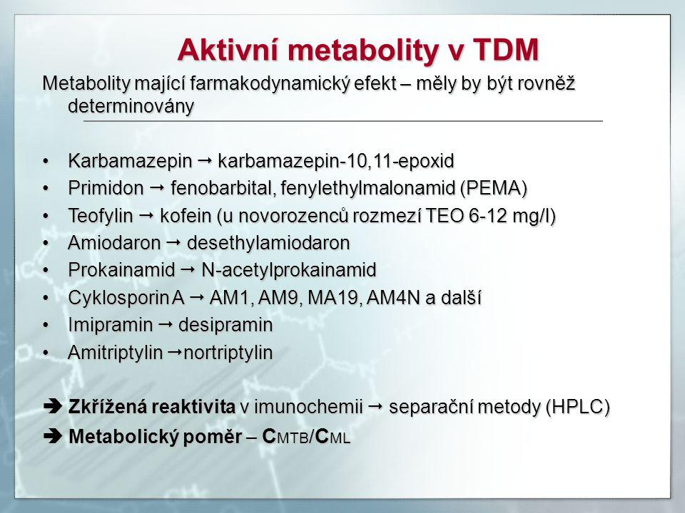 Aktivní metabolity v TDM Metabolity mající farmakodynamický efekt – měly by být rovněž determinovány Karbamazepin  karbamazepin-10,11-epoxidKarbamaze