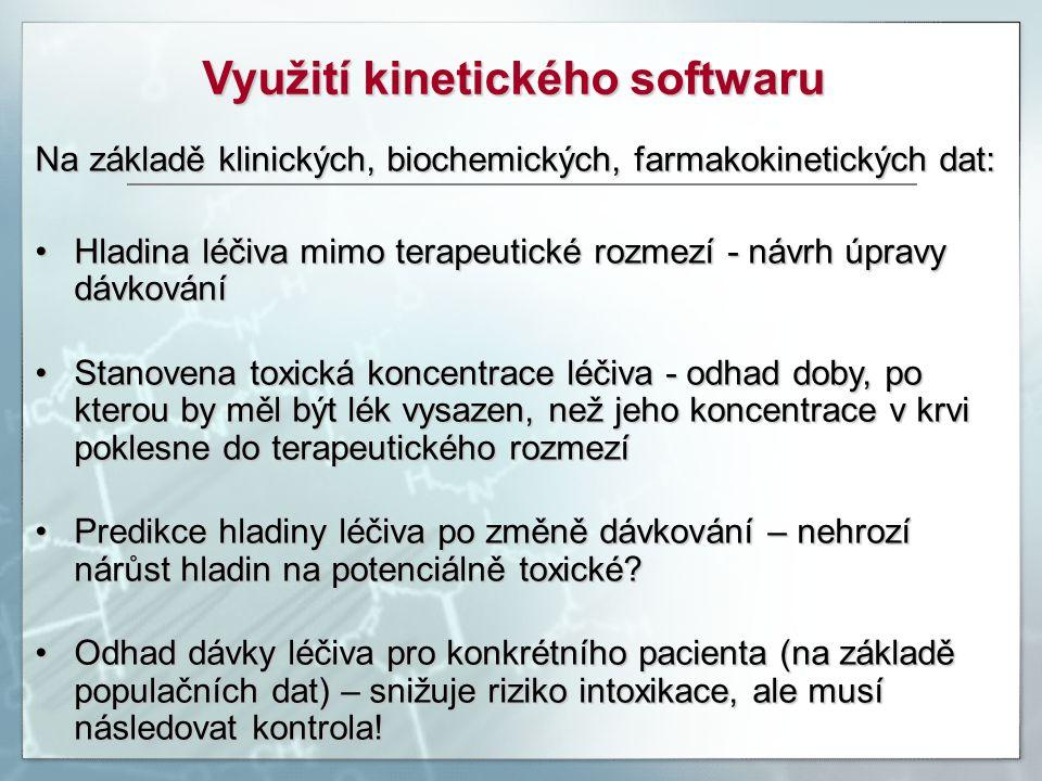 Využití kinetického softwaru Na základě klinických, biochemických, farmakokinetických dat: Hladina léčiva mimo terapeutické rozmezí - návrh úpravy dáv