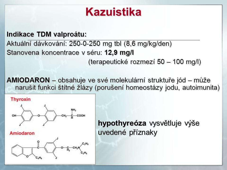 Indikace TDM valproátu: Aktuální dávkování: 250-0-250 mg tbl (8,6 mg/kg/den) Stanovena koncentrace v séru: 12,9 mg/l (terapeutické rozmezí 50 – 100 mg